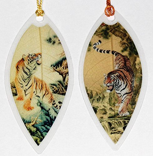 Lucore Tiger Painting Leaf Bookmarks -Made of Real Leaves - 2 Pcs (Tigers Hanging Sign)
