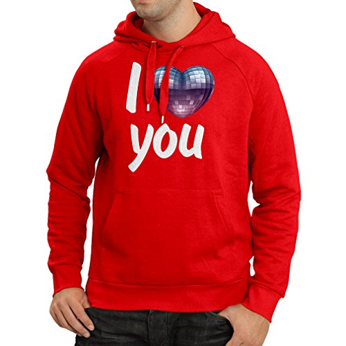 """Hoodie """"I Love you - disco ball heart"""" retro 80s clothing, music shirt, Valentine gifts (Medium Red Multi Color)"""