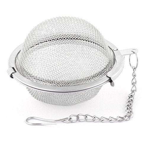DealMux Stainless Steel Reusable Locking Chain Cooking Infuser Mesh Tea Ball Strainer Filter 5.3cm Dia
