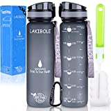 LAKIBOLE 32 oz Water Bottle BPA Free with Time Markers, Tritan Gym Water Bottle for Fitness, Outdoor Enthusiasts, Leakproof & Durable - Gray