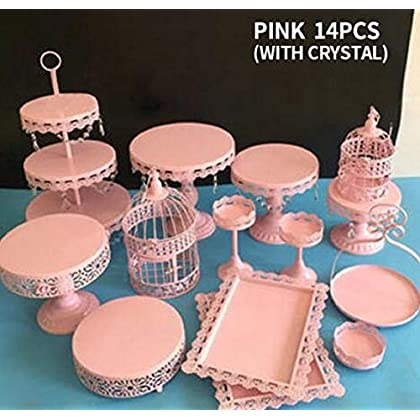Image of Cupcake Stands, 14 Set Metal Crystal Cake Holder Cupcake Stand Cake Dessert Holder with Pendants and Beads,Wedding Birthday Dessert Cupcake Pedestal Display, Pink USA STOCK (14, pink) Balloons