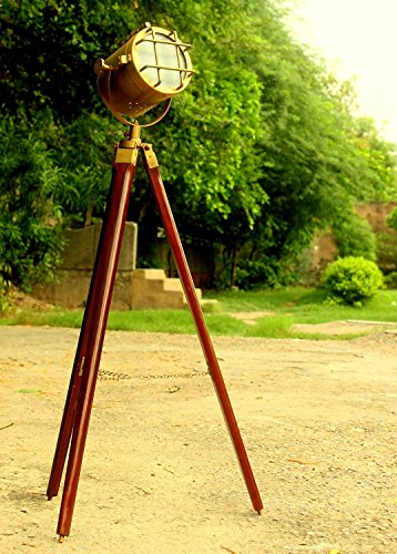 Adjustable-Design-Wooden-Tripod-Stand-Lighting-Modern-Floor-Lights-Brass-Polished