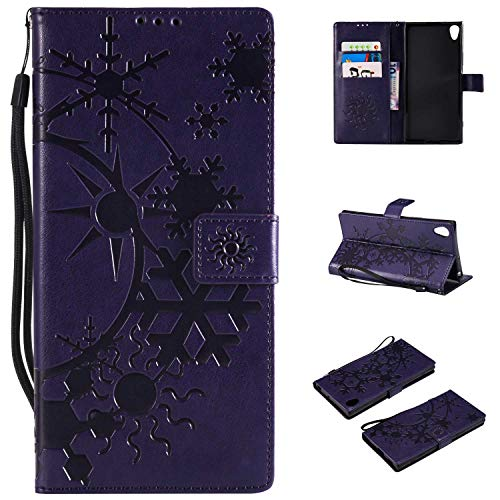 Price comparison product image CUSKING Sony Xperia XA1 Ultra Leather Wallet Case with Card Holder and Stand Function,  Magnetic Flip Folio Slime Protective Cover for Sony Xperia XA1 Ultra - Purple