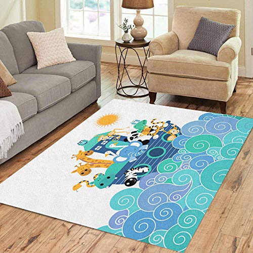Semtomn Area Rug 5' X 7' Pink Baby Noah Ark Blue Animals Jungle Nursery Kids Home Decor Collection Floor Rugs Carpet for Living Room Bedroom Dining Room ()