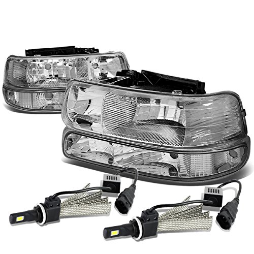 For Chevy Silverado/Tahoe 4Pc GMT800 Chrome Housing Clear Corner Headlight + 9006 LED Conversion Kit