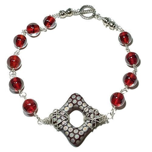 Red Statement 925 Silver Necklace | Vintage Czech Glass Jewelry Sale | Birthday Holiday Gifts | 19 ()