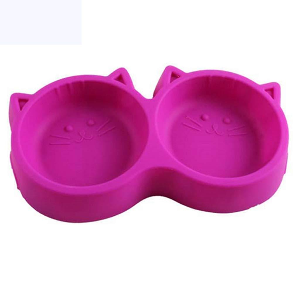 DIYurfeeling Pet Bowl Cat Face Pet Double Bowl Plastic