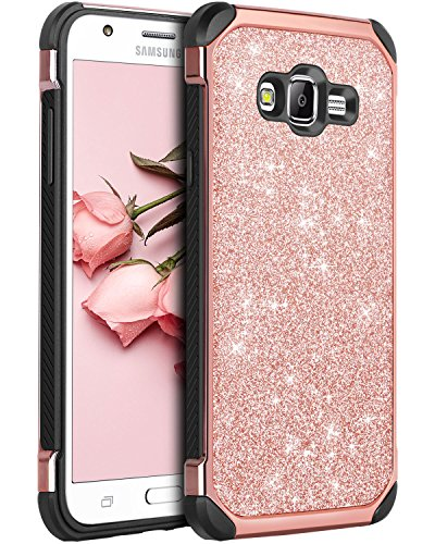 Galaxy J7 case, Samsung Galaxy J700 2015 Case, BENTOBEN Slim Shockproof Glitter Sparkly Bling Cute Shiny 2 in 1 Soft TPU Bumper Hybrid Hard PC with PU Faux Leather Protective Phone Cover, Rose Gold