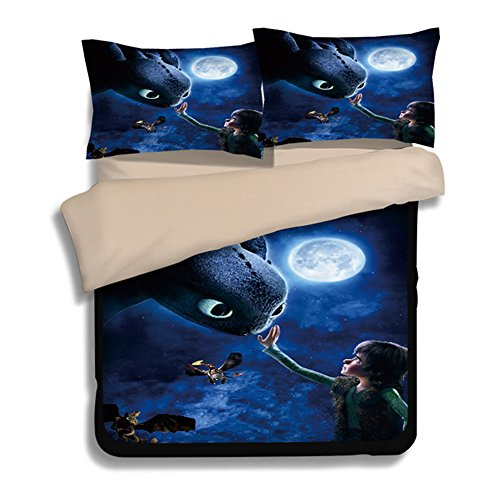 Jameswish How to Train Your Dragon Kids Duvet Cover 2018 Bed Cover Heavy-Duty Flying Dragon 3-Piece Including 1Duvet Cover 2Pillowshams King Queen Full Twin Size by Jameswish