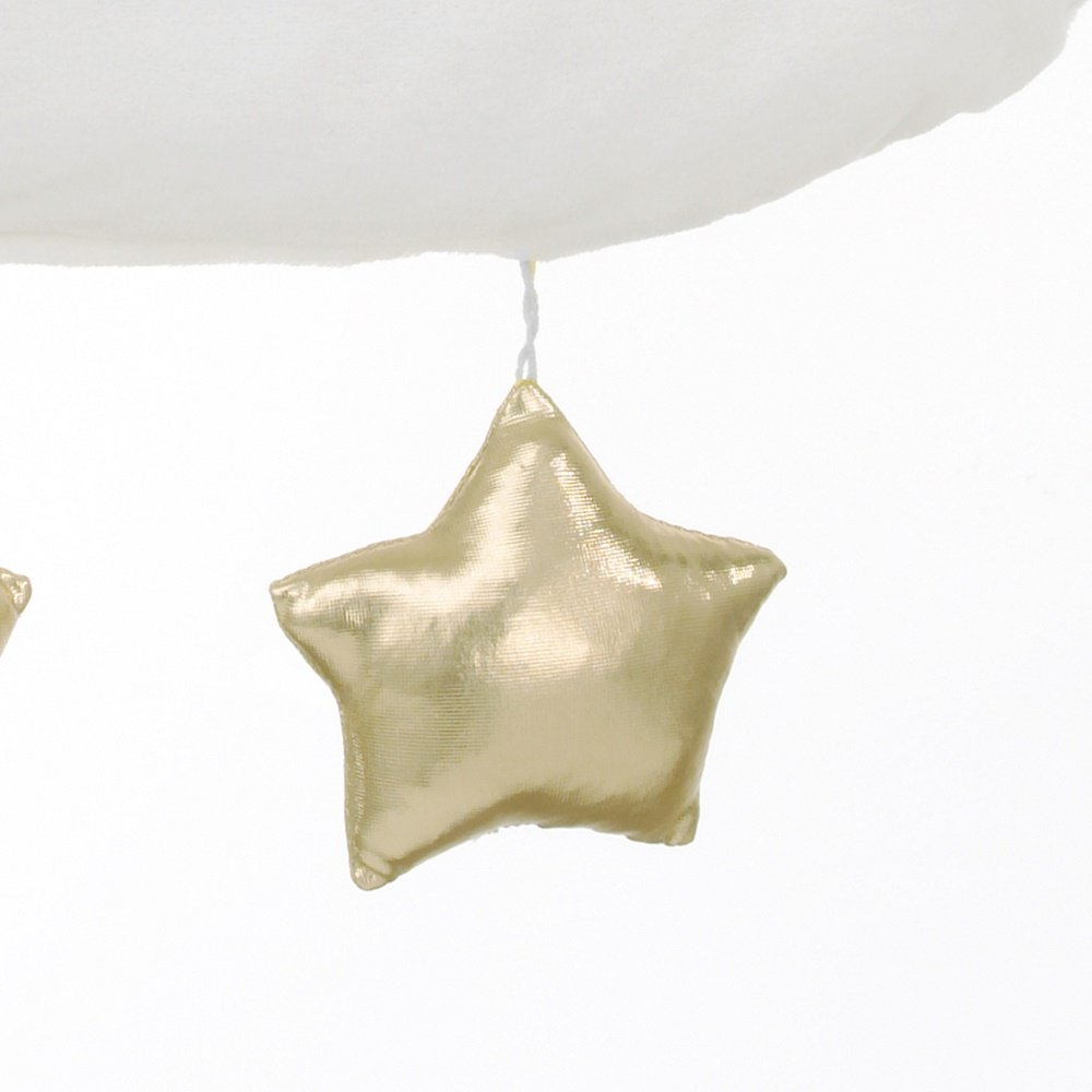 White//Gold Crown Crafts Inc 3029319 NoJo Cloud//Stars Soft Shaped Velour Wall Decor