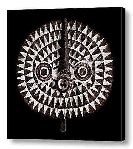 African - Tribal Art / Bobo Bwa Sun Mask Portrait / Fine Art Photo Print ~ Ready to Hang CANVAS WRAP Carved Wood Hang Mask