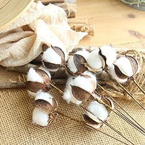 Yezijin Artificial Fake Flowers, Naturally Dried Cotton Stems Farmhouse Artificial Flower Filler Floral Decor 3