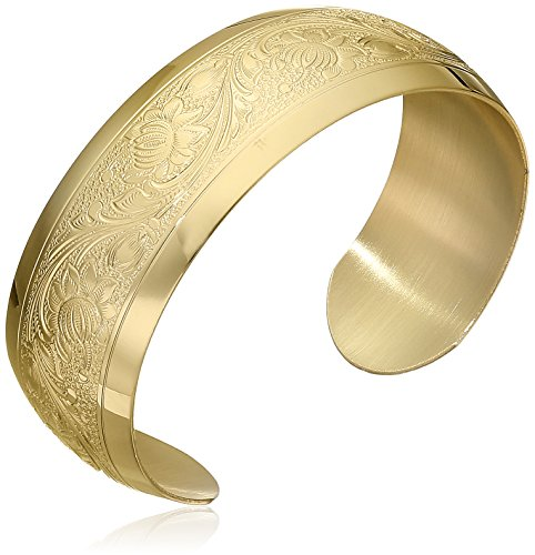 14k Yellow Gold-Filled Embossed Flower Design Cuff Bracelet by Amazon Collection