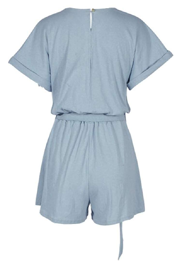 Women Short Sleeve Short Solid Color Playsuit Belt Casual Jumpsuits Rompers