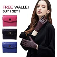 GSG Womens Winter Warm Leather Gloves Touchscreen Driving Fashion Ladies Gloves Pleat Spain Nappa