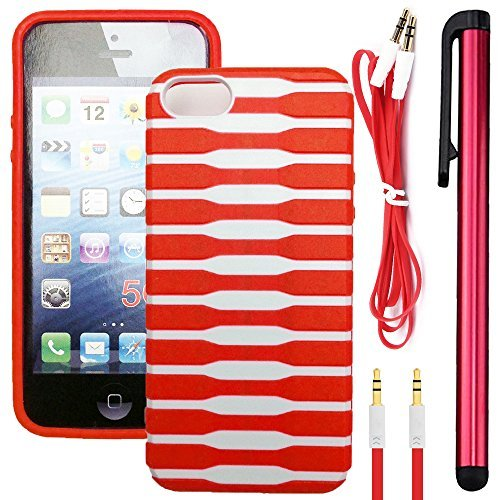 NEWTECK Rugged Impact Proof Dual Layer Shock Resistant Case+ Auxiliary Cord & Long Stylus Bundle for Apple iPhone SE , 5/5s (3 Pieces - Snap on Spine Design (Red Spine)
