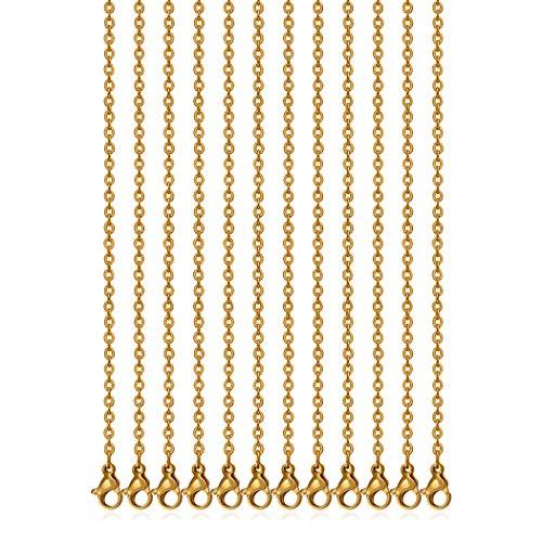 - 18 Inch 2MM Stainless Steel Gold Plated Link Cable Chain Necklaces for Jewelry Accessories DIY Making, Pack of 12