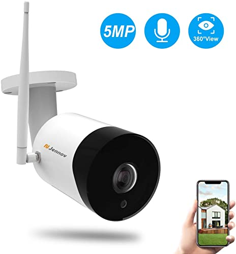 WiFi Panoramic Security Camera, Jennov Wireless 360 Degree Fisheye Home Surveillance IP Camera 5MP HD Outdoor Weatherproof Indoor Baby Monitor with 2-Way Audio Night Vision for Kid Pet Elderly