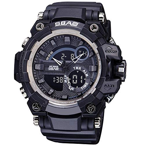 88f59c28688e Men s Digital Sports Watch LED Screen Round Electronic Waterproof Casual  Luminous Alarm clockStopwatch Alarm Simple Army