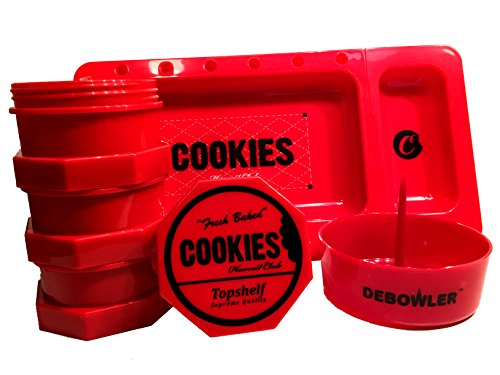 Red Cookies SF Jar 2.0 Rolling Tray and Red Debowler Set