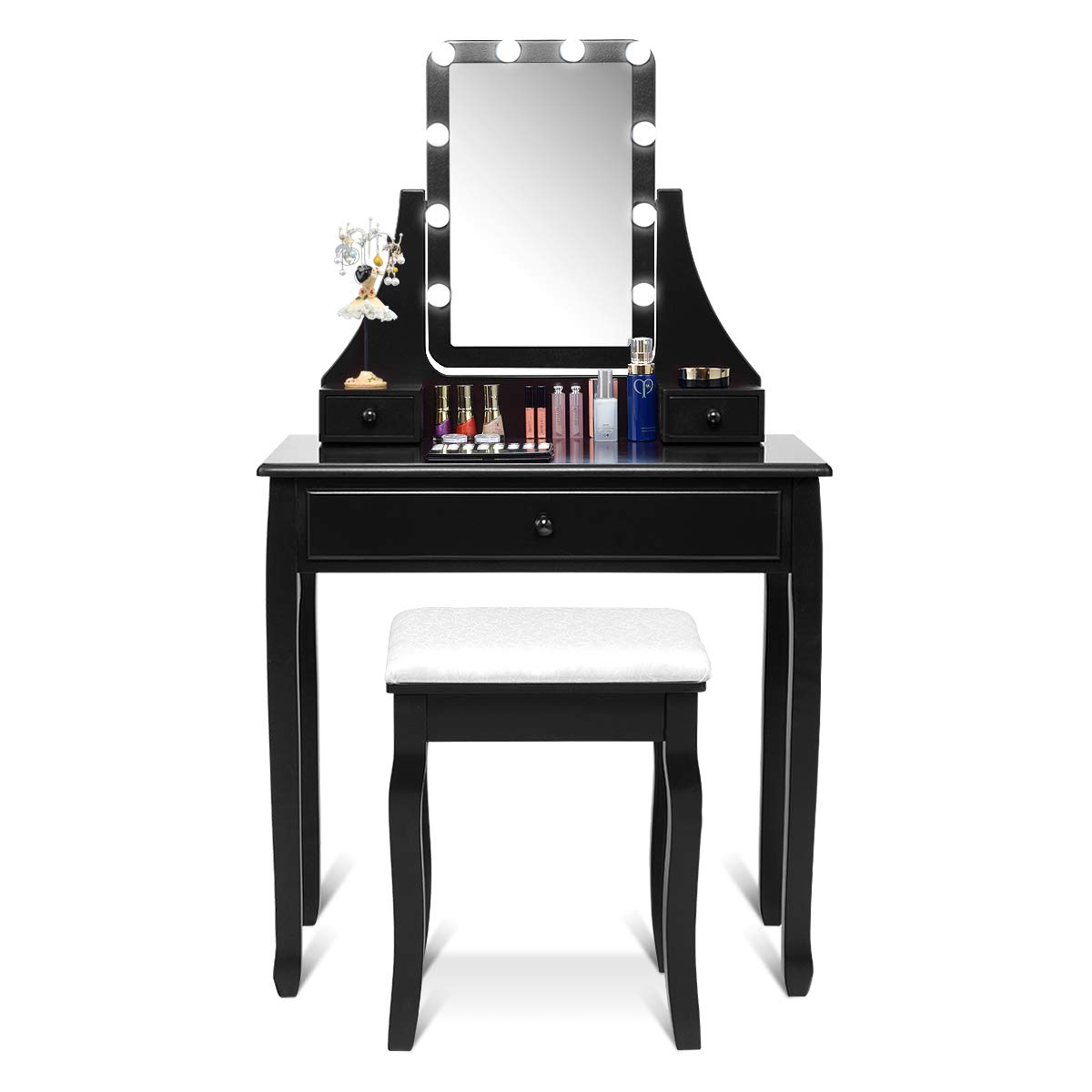 CHARMAID Vanity Set with Lighted Mirror, Makeup Dressing Table with 10 LED Dimmable Bulbs, Touch Switch, 3 Drawers 2 Dividers, Modern Bedroom Makeup Table with Cushioned Stool for Women Girls Black