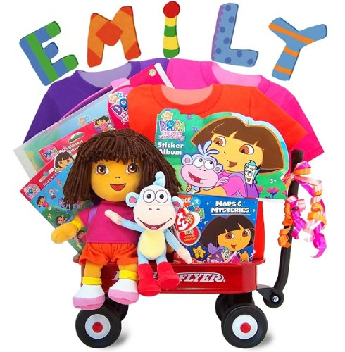 Gift Baskets By KarraNessian Dora The Explorer Radio Flyer Baby Gift Wagon - Personalized