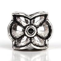 RUBYCA 30pcs Tibetan Silver Tone Spacer Beads Fit European Charms Bracelet Flower Design