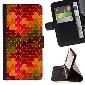 BullDog Case - FOR/Sony Xperia M2 / - / tiles pattern purple camouflage yellow green /- Monedero de cuero de la PU Llevar cubierta de la caja con el ID Credit Card Slots Flip funda de cuer