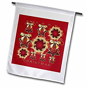 Sandy Mertens Christmas Designs - Christmas Stars, Wreaths, Trees Red Textured with Gold Ornaments - 12 x 18 inch Garden Flag (fl_60407_1)