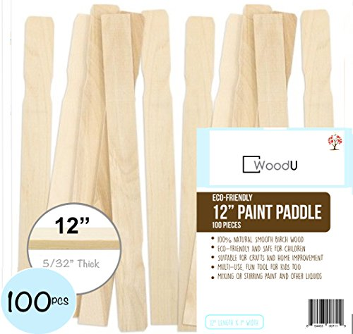 Wooden Paint Paddle Stir Sticks 12