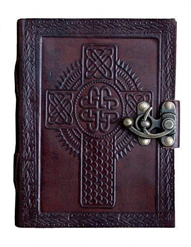 PRASTARA Leather Writing Journal Notebook Classic Spiral Bound Notebook Refillable Diary Sketchbook Gifts with Unlined Travel Journals to Write in for Girls and Boys (Cross)
