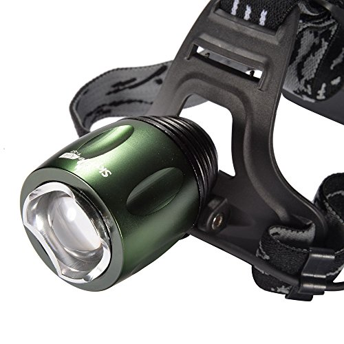 Mudder 1000Lm Cree T6 LED Zoomable Rotating Headlight, 3 Switch Modes Portable Headlamp Torch Light, 100M Beam Range