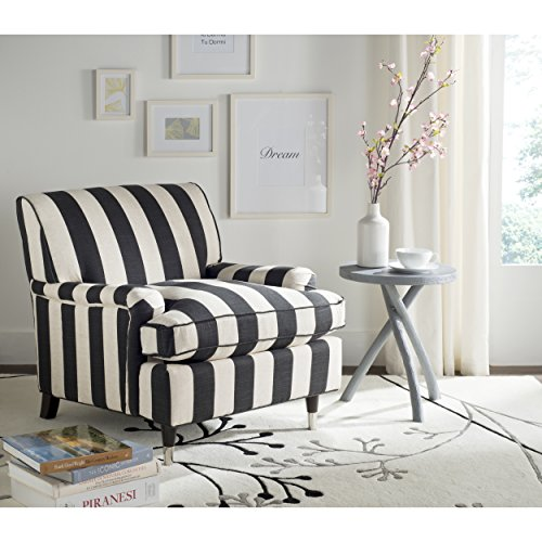 Safavieh Mercer Collection Chloe Club Chair, Black and (Chloe Side Chair)