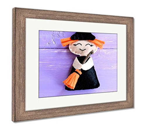 Ashley Framed Prints Funny Felt Witch Toy Isolated On Purple Wooden Halloween Crafts Idea for Kids, Wall Art Home Decoration, Color, 34x40 (Frame Size), Rustic Barn Wood Frame, AG6079252