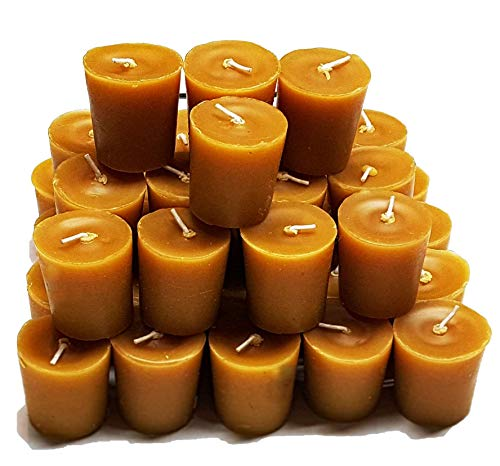 - 100% Beeswax Votive Candles - Bulk Pack of 36