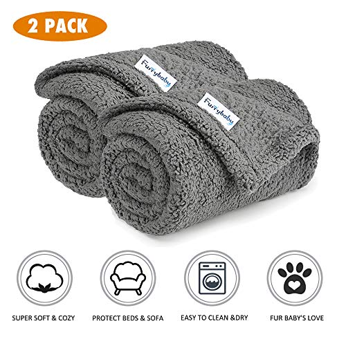 Furrybaby Premium Fluffy Fleece Dog Blanket, Soft and Warm Pet Throw for Dogs & Cats (2-Pack Small 24x32'', Grey)