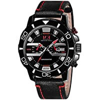 Men's Sports Wrist Watch Analog with Calendar Date, Waterproof by M.E (Black)