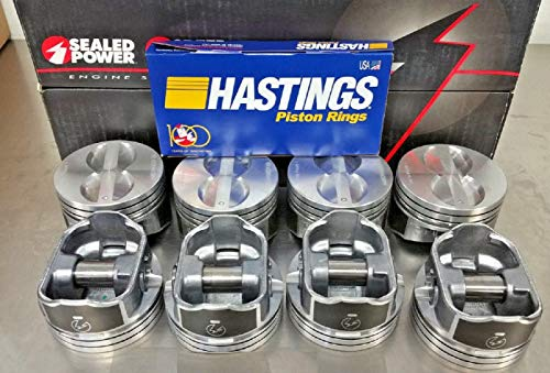 (Sealed Power Speed Pro Hyper Pistons and MOLY Rings compatible with SBC 350 SB 5.7L 5.7 H345DCP +.030