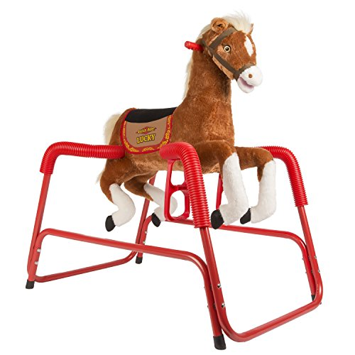 Rockin' Rider Lucky Talking Plush Spring Horse - Childs Rocking Horse