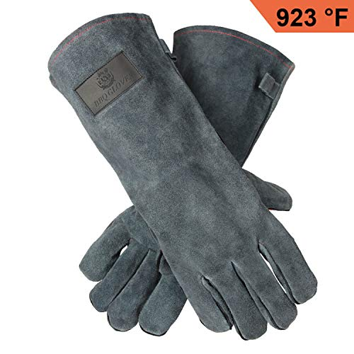 Upgraded Leather Grill BBQ Gloves with Food Grade - 932°F Heat Resistant Glove for Welding/Tig Welder/Oven/Meats Smoker/Fireplace/Wood Stove - Long Sleeve and Loose for Men and Women (14 inches) -