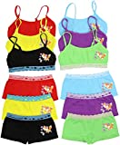 ToBeInStyle Girls Pack of 6 Set of Spaghetti Strap Bras and Boyshorts or Bikinis