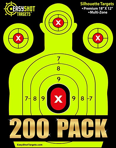 EASYSHOT Shooting Targets 18 X 12 inch. Shots are Easy to See with Our High-Vis Neon Yellow & Red Colors. Thick Silhouette Paper Sheets for Pistols, Rifles, BB Guns, Airsoft, Pellet Guns & More.