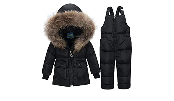 ec9ccc766 Amazon.com : QSEFT Winter Boys Coat Girls Ski Suit Children Clothing Set  Baby Duck Down Jacket + Pants Overalls Warm Kids Clothes Snowsuit0-3 Years  Old, ...