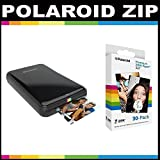 Polaroid ZIP Mobile Printer ZINK Zero Ink Printing Technology - With Polaroid 2x3 inch Premium ZINK Photo Paper (30 Sheets)- Black