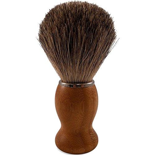 [Marketworldcup-2 -100% Pure Badger Hair Shaving Brush - Luxury Natural Bamboo Professional Shaving] (Mountain Brushed Grab Bar)