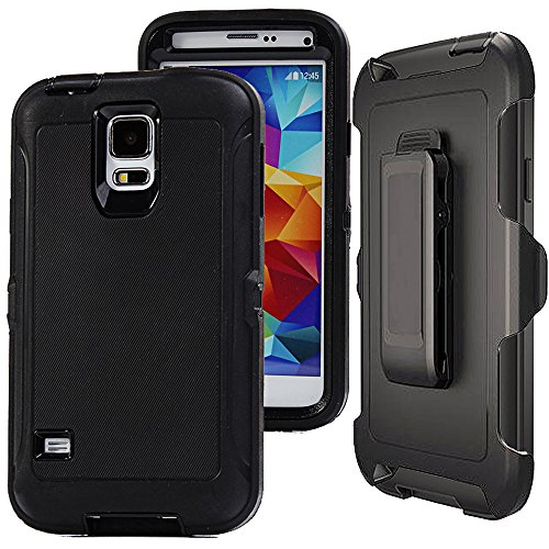 Galaxy S5 Defender Case,Auker Heavy Duty Shockproof Hybrid Rugged Protective Built-in Screen Protector Case with Rotating Kickstand&Belt Clip Holster for Samsung Galaxy S5 (Black)
