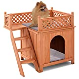 Cheap Giantex Pet Dog House, Wooden Dog Room Shelter with Stairs, Raised Roof and Balcony Bed for Indoor and Outdoor Use, Wood Dog House