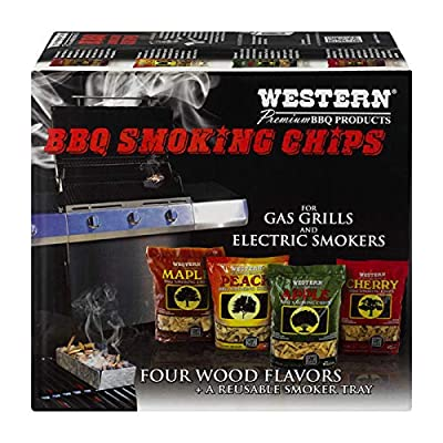 Western Premium BBQ Products BBQ Smoking Chips, Variety Pack (4 pack) by WESTERN