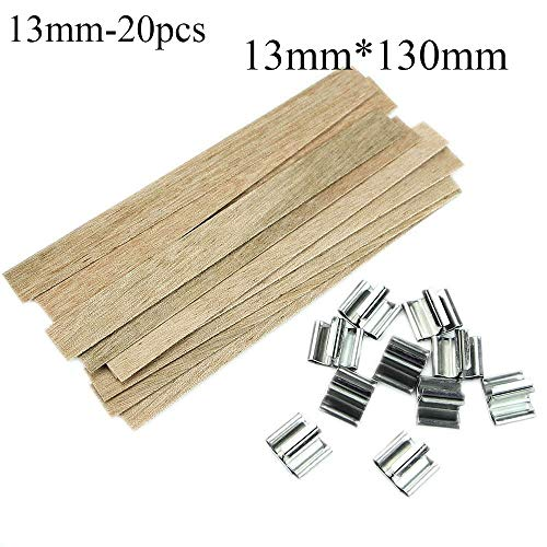 (OFCCN Wooden Wick Square Stand Alloy,6/8/10/12.5/13mm Holder Lamps Candlestick Sustainer Tabs Wax Candle Core(13mm-20pcs) )