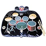 Lzour Kids Drum and Beats Kit Playmat Includes Headphones with Mic & Drum Sticks Mp3 Input Touch Sensitive Foldable and Portable Electronic Floor Mat Christmas Fun Toy for Children Toddlers